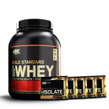 100% Whey Protein (2270g) Optimum Nutrition + 5 Amostras Whey Isolate