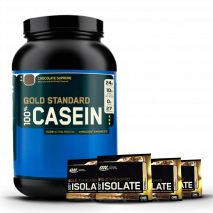 100% Casein (1.9lb/900g) Optimum Nutrition + 4 Amostras Whey Gold Isolate
